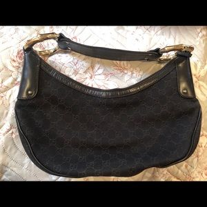 Authentic Gucci Black Hobo Bag w/ Gold Bamboo Ring